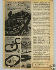 1968 PAPER AD 6 PG Toy Play Race Car Sets Slot Twin Peaks Aurora HO Scale
