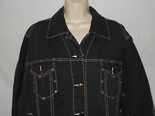 Denim Jean Jacket 2X Womens The Blues Black Rhinestone Trucker Coat 6d43