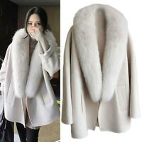 AU Women's Cashmer Loose Coats Fur Lapel Capa Poncho Jackets Outwear Faux Fur