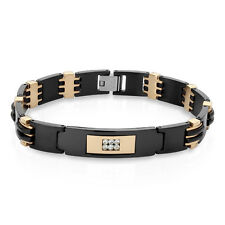 Black and Rose Gold Two Tone CZ Set Center Plate Stainless Steel Men's Bracelet