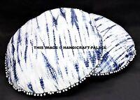 2 PC 81.3cm Décoratif Indien Teinture Shibori Rond Bleu Coussin Sol Oreiller