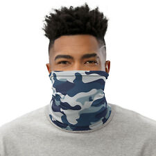 Blue Camo Neck Gaiter Camouflage Urban Face Mask for Hiking, Running and Fishing