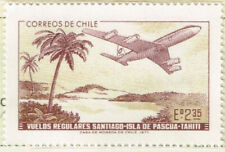 Pascua Easter Island Chile Aircraft over Lagune and Palms stamp 1971 MNH