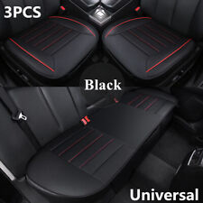 3pcs Universal Black PU Leather Breathable Car Chair Cover Seat Pad Cushion Mat