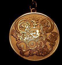"""Walt Disney 2005 Coin Keychain """"Where the Party Never Ends"""" Gold Tone  NEW"""