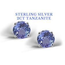 Tanzanite Stud Earrings Sterling Silver 2 Carat