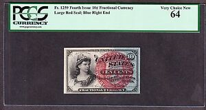 US 10c Fractional Currency 4th Issue Large Red Seal PCGS 64 FR 1259 C Ch CU