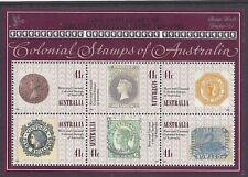 Australia 1990 Colonial Stamps of Australia Mini Sheet Opt Stamp world London 90