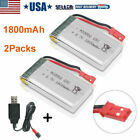 2x 1800mAh 3.7V 25C Lipo Battery USB Charger JST Plug for RC Quadcopter Drone