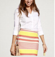 New Ann Taylor Striped Beige Orange Yellow Pencil Skirt Size 00P