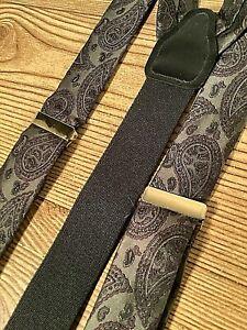 CAS Germany Vintage Gray Black  Purple Paisley Braces Suspenders Adjustable