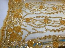 Gold Tree Design With 3d Flowers Embroider With Sequins On A Mesh Lace. Bridal..