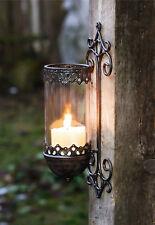 2 St. Wandleuchter Barock Kerzenhalter Windlicht Wandlicht Garten Laterne Metall