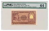 ITALY banknote 100 Lire 1951 Bolaffi signature PMG MS 64 EPQ Choice Uncirculated