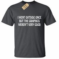 KIDS BOYS GIRLS I Went Outside Once T Shirt funny geek nerd gamer pc xbox gift