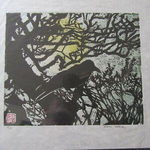 Crow Raven Moon Branch woodcut woodblock print Japanese Washi signed original