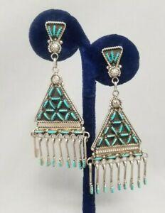 """Vintage Zuni Needle Point Turquoise Chandelier Earrings - Kevin Leekity 3"""" long"""
