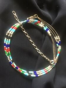 Vtg Navajo Liquid Sterling Silver Turquoise Lapis CoraL Necklace Chocker
