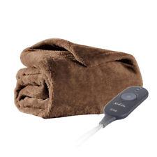 Sunbeam Microplush Electric Heated Warming Oversized Throw Blanket Cocoa