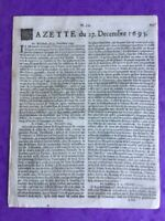 Gazette Renaudot 1693 Catalogne Corse Espagne Milan Livourne Italie Guernesey