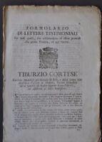 Formulario Lettere Testimoniali  Promozione Tonsura Ordini Vescovo Modena 1700