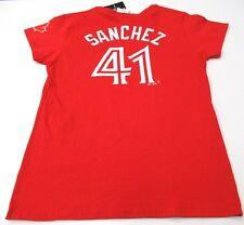 Ladies Toronto Blue Jays Red Alternate Aaron Sanchez Medium Name Number T Shirt