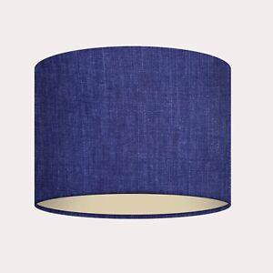 Denim Blue Linen Metallic Champagne Lining Drum Lampshade Light Shade