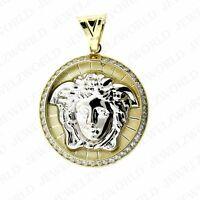 10K White Yellow Gold Two Tone Medusa Head Charm Pendant X-Large CZ Medallion