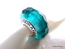 NEW! AUTHENTIC PANDORA CHARM MURANO GLASS TEAL SHIMMER #791655  P