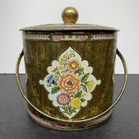 """Vintage Cottage Core Daher Tin w Lid- Made in England - 1960's Floral 6"""" Tall"""