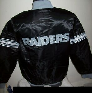 OAKLAND RAIDERS Starter Snap Down Jacket BLACK with BLACK Lining   M L XL 2X