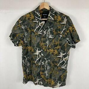 Mr. Simple Mens Linen Button Up Shirt Size S Multicoloured Floral Short Sleeve