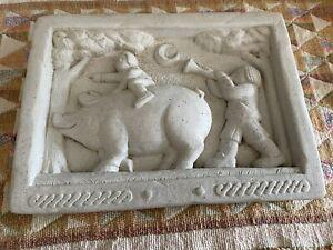 Whimsical Vintage Carruth Studio Stoneware Plaque - Pig Rider 1987.