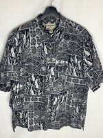 Cooke Street Honolulu Hawaiian Mens Shirt XL Black White Flawless 100% Cotton