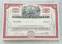 Reading Company (Railroad) 100 Share Stock Certificate Railroad Red 1965-1970