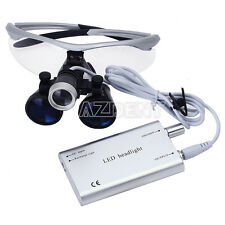 Dental 3.5X Surgical Magnifier Medical Binocular Loupes with LED Light Lamps Kit