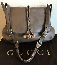 Rare Gucci Taupe Leather Bamboo Han