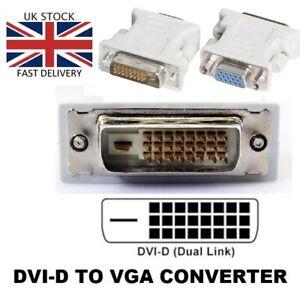 DVI-D MALE DVI 24+1 PIN to VGA SVGA FEMALE 15PIN MONITOR ADAPTER UK