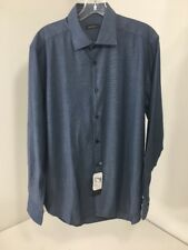 SAKS FIFTH AVENUE MEN'S TWILL LONG SLEEVE DRESS SHIRT INDIGO BLUE MED NWT $195