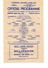 Aldershot v Crystal Palace Reserves Programme 14.3.1955 Football Combination