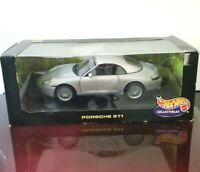 Hot Wheels 1998 Porsche 911 Carrera 1:18 Scale Diecast Model Car Gray NEW In BOX