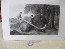 Vintage Print,SEE SAW,Steel Engraving,Ladies Repository,19th Cent.