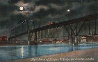 Postcard Night Scene Douglas St Bridge and Smelter Omaha Nebraska