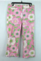 Lilly Pulitzer Printed Crop Size 2 Pants Floral Pattern on Pink Cotton Spandex