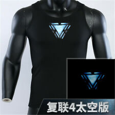 Avengers 4 Tony Stark Arc Reactor Luminous Cosplay Tops Vest T-Shirt  Basic Tee