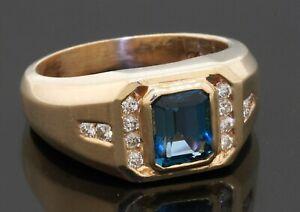 Heavy 14K gold amazing 1.80CTW diamond/7.5 X 6mm Blue topaz men's ring size 9