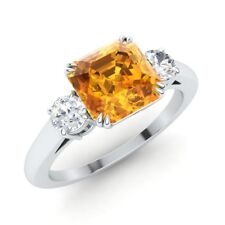 CERTIFIED 1.73Ct Emerald Citrine & SI Diamond 14k White Gold Engagement Ring