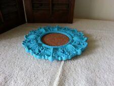 "Aqua/turquoise framed cork board - 7"" round"