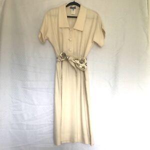 Leslie Fay Vintage T-Shirt Dress Workers Union Elastic Waist Tie Womens 10