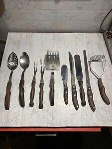 10 Piece Cutco Knife  Fork Utensil set. Brown w/Orange Swirl